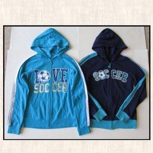 Justice 14 Love Soccer Blue Navy Jacket Sweatshirt